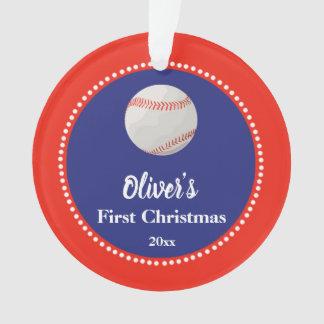 Newborn First Christmas Ornament Baseball Red Blue