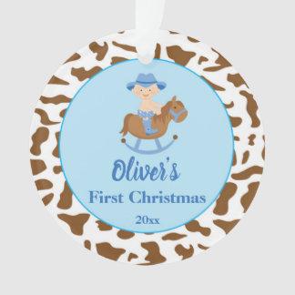 Newborn First Christmas Ornament Cowboy Blue