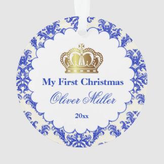 Newborn First Christmas Ornament Prince Gold Blue