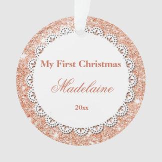 Newborn First Christmas Ornament Rose Gold Glitter