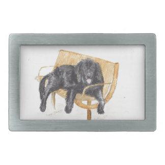 Newfoundland Dog on bench, Rectangular Belt Buckles