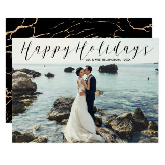 Newly Married Happy Holidays Photo Elegant Marble Card