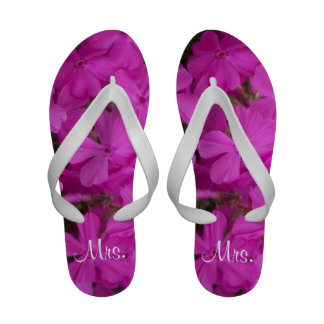 Newly Married Pink Phlox Flip Flops