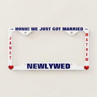 Newlywed Wedding Honeymoon with Hearts Licence Plate Frame