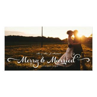 Newlyweds Wedding Christmas Photo Card Calligraphy