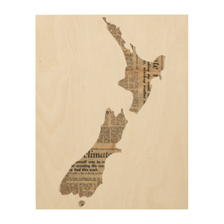 Newspaper Patterned New Zealand Country  | Wood Wood Print