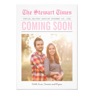 Newspaper | Pregnancy Announcement | Pink