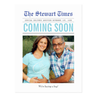 Newspaper | Pregnancy Announcement Postcard