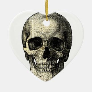 Newspaper skull christmas ornament