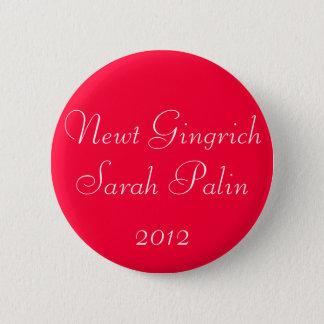 Newt Gingrich Sarah Palin 2012 6 Cm Round Badge
