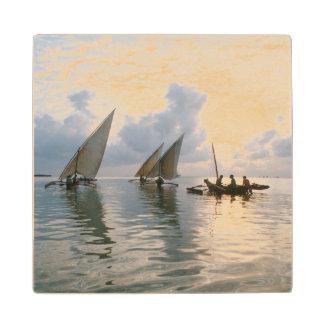 Ngalawas Boats At Dawn, Pemba Island, Tanzania Wood Coaster