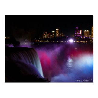 Niagara Falls at night Pink and Purple Postcard