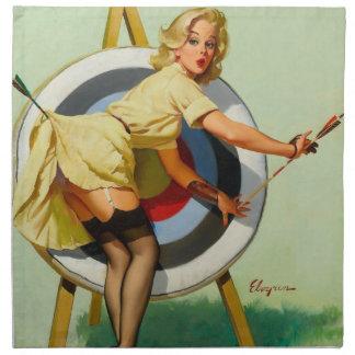 Nice Archery Shot - Retro Pin Up Girl Napkin