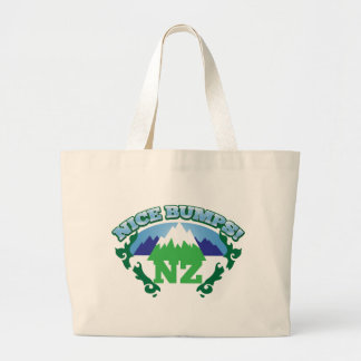 NICE BUMPS New Zealand map with mountains Large Tote Bag