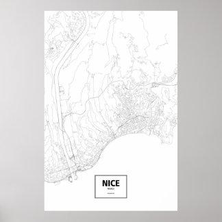 Nice, France (black on white) Poster