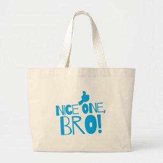 Nice one Bro! Kiwi New Zealand funny Large Tote Bag