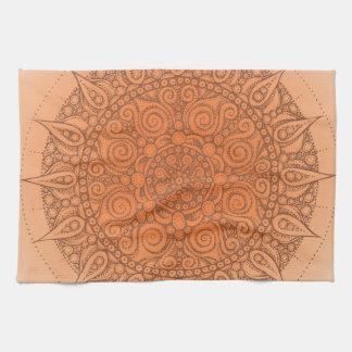 Nice Oriental Orange Design Tea Towel