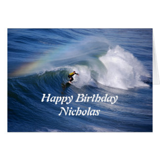 Nicholas Happy Birthday Surfer With Rainbow Card