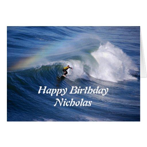 Nicholas Happy Birthday Surfer With Rainbow Greeting Cards