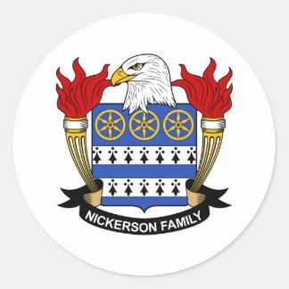 Nickerson Family Crest Round Sticker