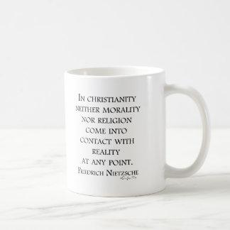 Nietzsche on christianity basic white mug