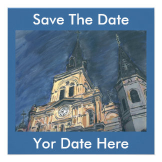 Night Cathedral Save The Date Yor Date Here Invitation