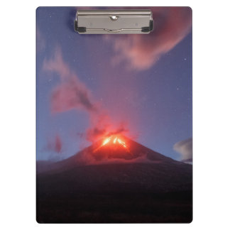 Night eruption active volcano clipboard