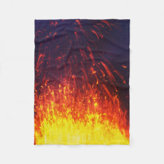 Night eruption volcano: fireworks lava in crater fleece blanket