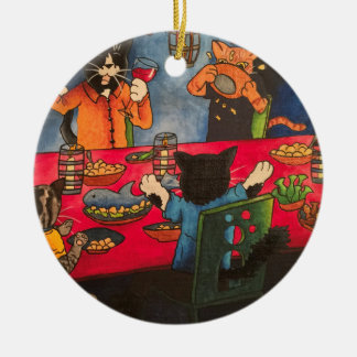 Night Feast Cats Christmas Ornament