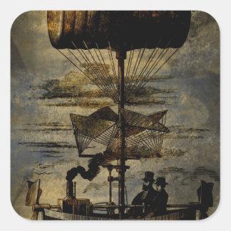 Night Flight Steampunk Flying Machine Square Sticker
