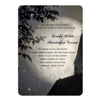 Night Moon Country Church Christian Wedding 5x7 Paper Invitation Card