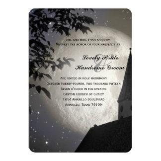 Night Moon Country Church Christian Wedding Custom Invitation