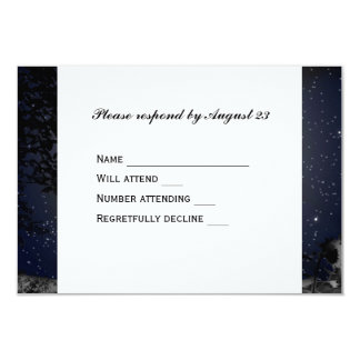 Night Moon Country Church RSVP 3.5x5 Paper Invitation Card