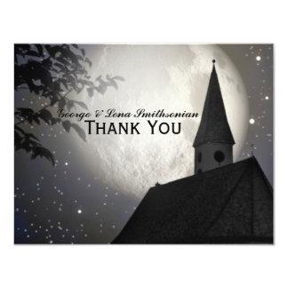 Night Moon Country Church Thank You 11 Cm X 14 Cm Invitation Card