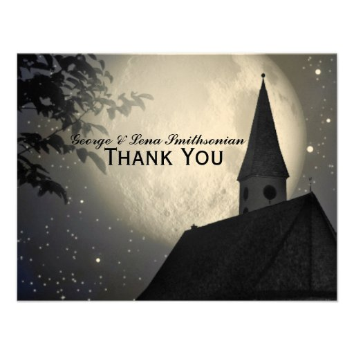 Night Moon Country Church Thank You Personalized Invitation