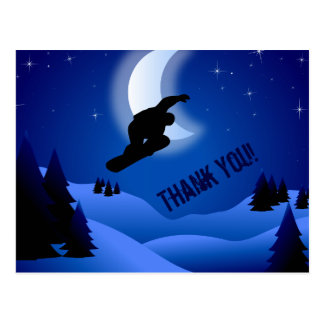 Night Snowboarding Mountain and Moon Thank You Postcard