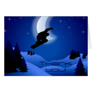 Night Snowboarding Mountain Thank You Card