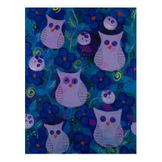 Night Song with Owls, Blue Postcard
