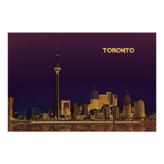 Night Toronto skyline poster