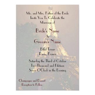 Night View Eiffel Tower Wedding 14 Cm X 19 Cm Invitation Card