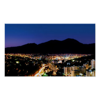 Night view of Caracas City and Avila mountain Poster