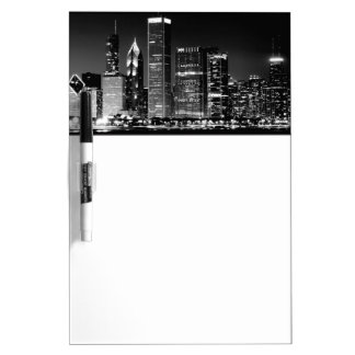 Night view of Chicago's famous cityscape Dry Erase Board