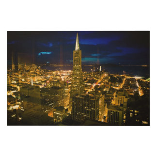 Night view of San Francisco. Wood Canvases