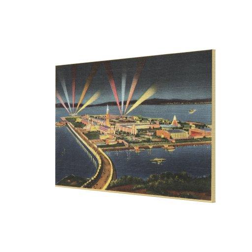 Night View of Treasure Island, Internat'l Expo Canvas Prints