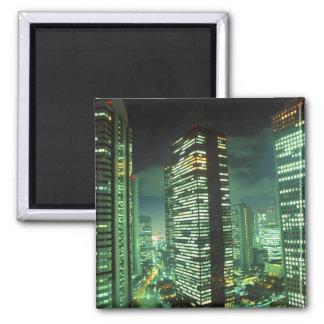 Nightscape, Shinjuku, Tokyo, Japan Square Magnet