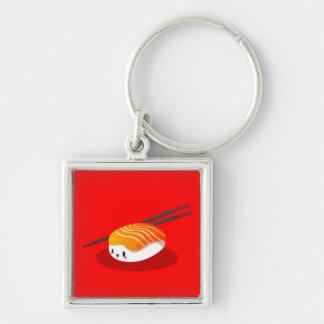 Nigiri Sake Silver-Colored Square Key Ring
