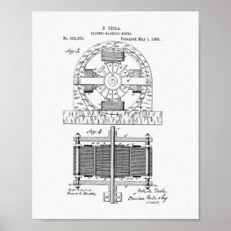Nikola Tesla 1888 Patent Art - White Paper Poster