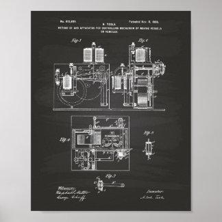 Nikola Tesla 1898 Patent Art - Chalkboard Poster