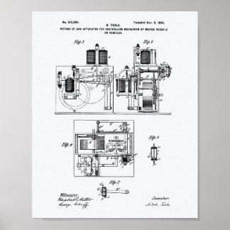 Nikola Tesla 1898 Patent Art - White Paper Poster