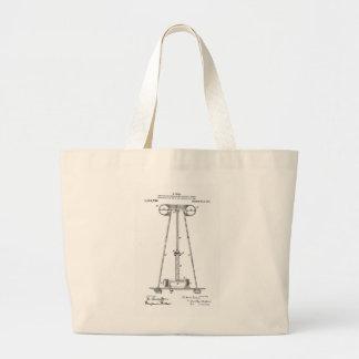 Nikola Tesla Energy Transmission Pantent US1119732 Large Tote Bag